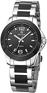 Hexiaoyi Stainless Steel Wrist Watch Waterproof Watch For Lady (Color : Black)
