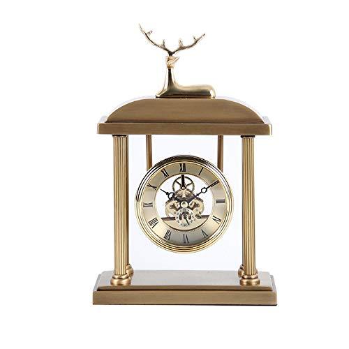 DAMAI STORE Reloj De Escritorio De Cobre Puro Reloj De Sala De Estar Dormitorio Creativo Escritorio Escritorio Reloj De Ciervos Conjunto Reloj De Metal