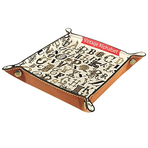 Bandeja de Valet, colección de Cuero de PU, Organizador de bandejas, Caja de Almacenamiento para Relojes, Monedas, Monedas, Billetera, Alfabeto Vintage