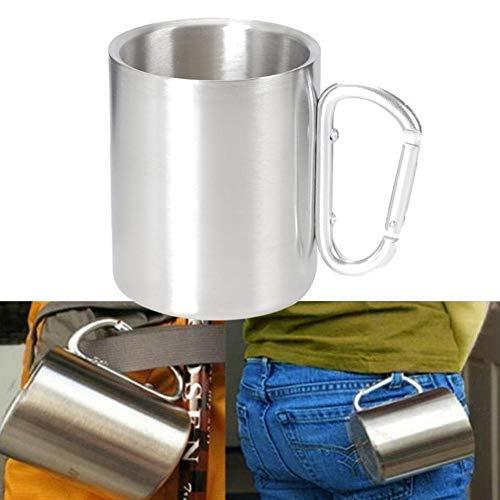 Edelstahlbecher, Camping-Tasse, 220 ml Outdoor Metall-Becher mit geschraubtem Karabiner-Griff, Edelstahl, Wandern, Trekking, Arbeit Büro