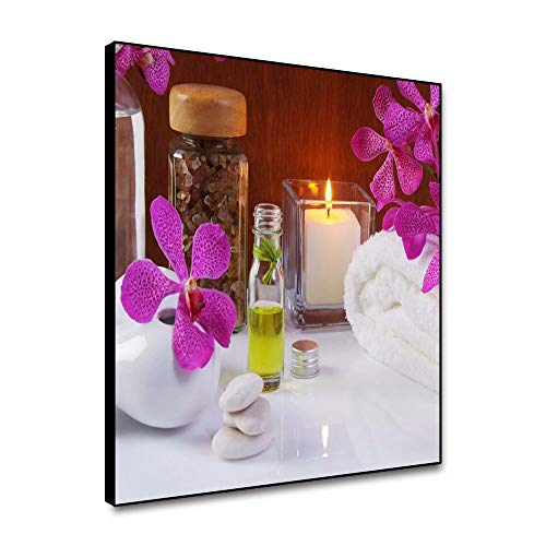 shensu Framed Canvas Aromatic Candles Flowers Wall Art Still Life Prints Zen Stones Spa Towels Wall Decor Posters Wall Artwork for Bathroom Living Room Bedroom Office Home Decor 16x16inch