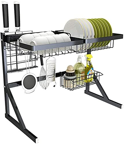 Escurridor de Platos, Sobre el bastidor de secado del plato de fregadero, estante de exhibición de escurrimiento de acero inoxidable negro, plataforma de espacio en mostrador Organizador de vajilla co