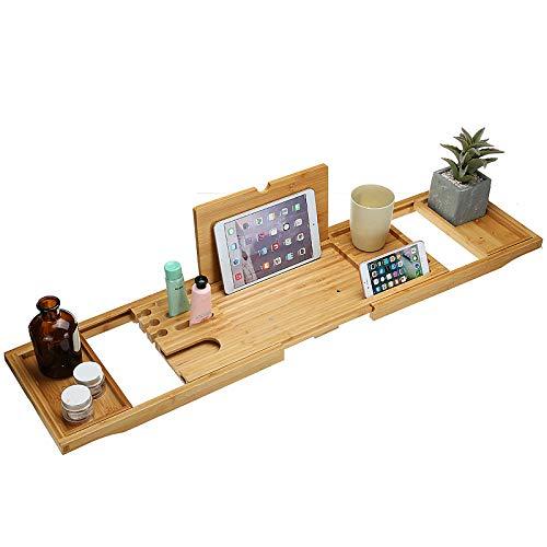 Bambú para Bañera Bandeja de Bañera Extensible con Soporte para Copa de Vino y iPad reposa Libros, Tabla de Baño con Atril Libros, para Bañera de Cualquier Tamaño(75-105cm)