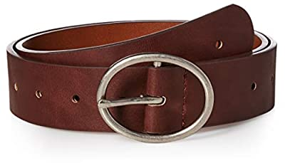 Amazon Essentials Women's Fully Adjustable Casual Belt with Rounded Buckle, Brown, Extra Large