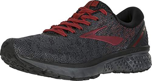 Brooks Mens Ghost 11 Running Shoe - Black/White/Merlot - D - 10.0