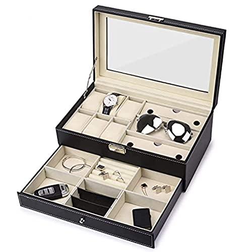 Reloj Joyero 2 capas 12 rejillas Cuero de PU Vitrina de almacenamiento de reloj con compartimentos para gemelos, anillos, cadenas - 32,5 × 19,5 × 13,2 cm
