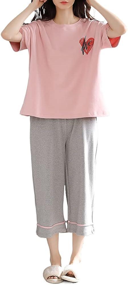 KINYBABY Teen Girls Pajama Sets Summer Casual Loungewear Nightwear Short Sleeve Sleep Top and Shorts Outfits (N6238,16-18 Years/Tag XXL)