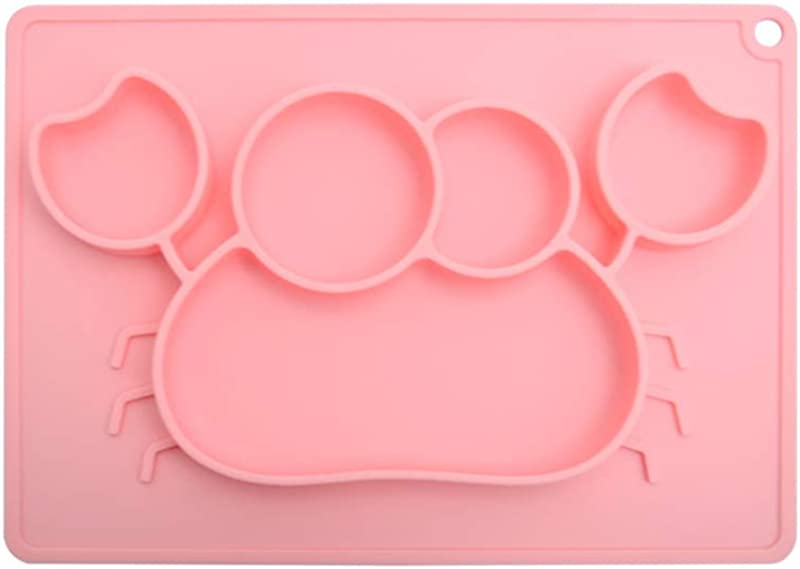 She Love Cartoon Baby Food Placemat One Piece Food Grade Silicone Mat Rectangle Crab Suction Feeding Plate Mat With 5 Separated Placement For Baby Toddlers Kid Pink