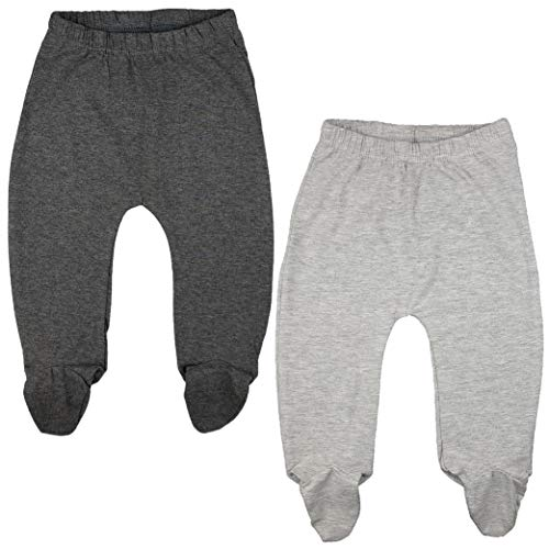 123 Bear Baby Soft Cotton Spandex Pants with Feet (Gray 2-Pack, 0-3 Months)