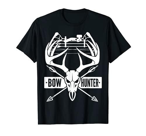 ボウハンティング ヴィンテージ 鹿の頭蓋骨とコンパウンドボウ アーチェリーギフト Tシャツ
