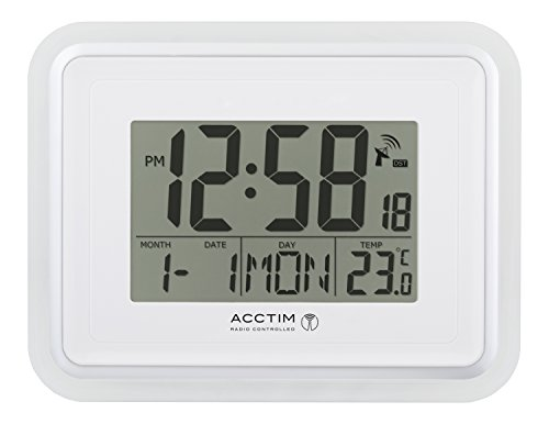 Delta Radio Controlled MSF signal Wall or Desk Mounted Digital Clock with Calendar and indoor Temperature