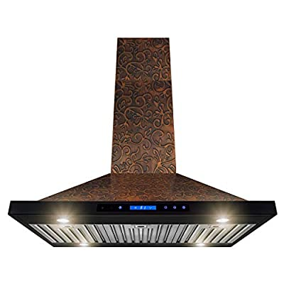 AKDY Island Mount Range Hood - Embossed Copper Hood Fan for Kitchen - 4-Speed Professional Quiet Motor - Premium Touch Control Panel - Elegant Vine Design - Baffle Filter (30 in.)