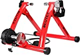 CXWXC Indoor Bike Trainer, Portable Bicycle Magnetic Resistance Exercise Stand with Noise Reduction Wheel Black (Red)