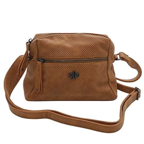 kleine Umhängetasche sehr schick von Jennifer Jones -Handtasche Schultertasche Damentasche (Cognac) - präsentiert von ZMOKA®