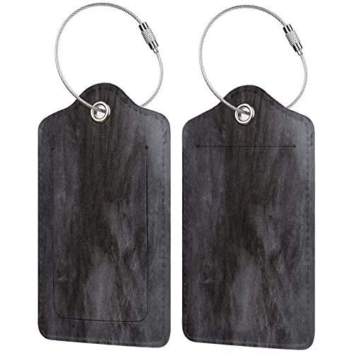 FULIYA Juego de 2 etiquetas de equipaje seguras de alta gama de cuero para maletas, tarjetas de visita o bolsa de identificación de viaje, superficie, pared, lunares, oscuro