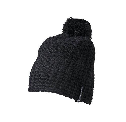Myrtle Beach Bonnet en Crochet avec Pompon Uni Noir Noir Taille Unique
