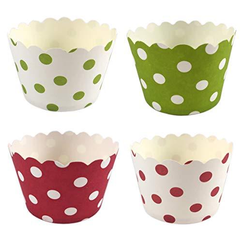 100 Pappförmchen für Muffin, Cupcake, EIS, Dessert – 4 Designs a 25 Stück mit Punkten