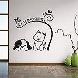 Animalerie signe de bienvenue autocollant beau chat chien sticker mural textes de bienvenue mur fenêtre affiche décoration de la maison sticker mural A3 42x42 cm