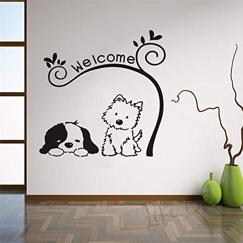 Tienda de mascotas cartel de bienvenida pegatina adorable gato perro calcomanía de pared textos de bienvenida cartel de ventana de pared decoración del hogar calcomanía de pared A2 57x57cm