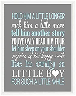 Hold Him A Little Longer, Rock Him A Little More, Baby Boy Nursery, Baby Boy Quote, Boy Room Decor, Little Boy Print, Blue, Gray, Gift