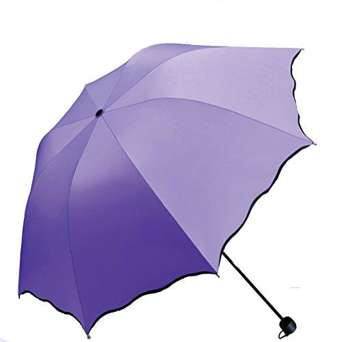 Lila Stockschirme Frau Männer Regenschirme Taschenschirme Leichtgewichts Blume 8 Knochen UV-Beweis Regenschirm (Nelke lila)