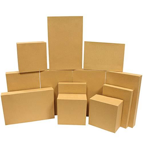 JOYIN 12er Set Geschenkboxen, Kraftkarton Kraftpapier Box für Weihnachten, Geschenke, Cupcake