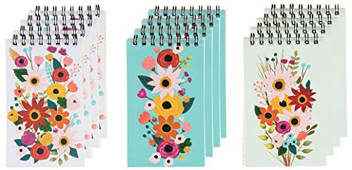 Spiral Notepads with Floral Design (3 x 5 Inches, 12-Pack)