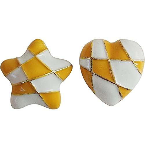 FEARRIN Pendientes a Granel asimétricos Pendientes de corazón de Estrella para Mujer Pendientes de Temperamento encantadores Pendientes de Tuerca Regalos de joyería Yellowwhitestud