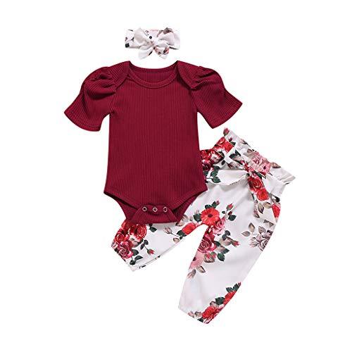 Ensemble de Pyjama Bébé Fille Noel Vêtements de Nuit Enfants Garçon Mignon 3pc avec Bande de Cheveux Ensembles Hiver Barboteuse Combinaison Romper Sleepsuit Pantalon (18-24 Mois)