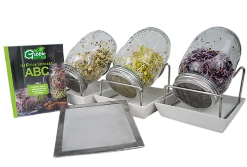 Green SEEDS Sprossenglas Keimglas 3er Set + Kressesieb | 1000ml mit hochwertigem Edelstahl-Gitterdeckel, Ständer, Keramikschale + Sprossen-ABC [Druckversion]