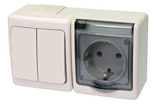 Serienschalter/Steckdose Kombination mit Klappdeckel Aufputz IP44 weiß/transparent