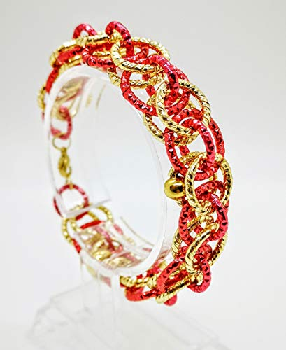 Gold and red bracelet with striped red carnelian. Gift idea made in Italy