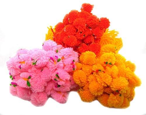 SataanReaper Presents Ram Flower Gota Pati Pooja Pom Pom Plumas Suave Niños Sharvan God Raksha Bandhan Banda de Regalo Moli Pulsera (Juego de 20) #SR-2605