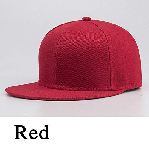 MdsfexixianxinquSport Baseballmütze leer einfach solide Rebound Golfplatz Straße Hut Männer und Frauen Hip Hop Hut - Rot, One Size