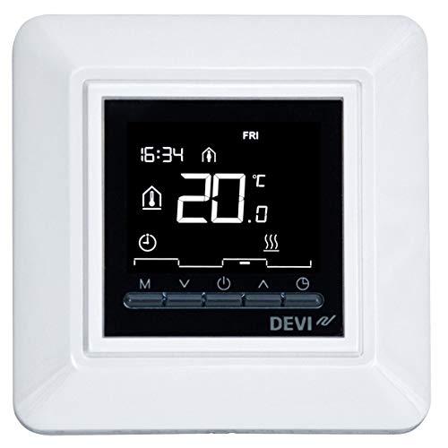 Devi Timer-Thermostat 140F1055 m. 1-Fach-Rahmen ws Raumthermostat/Uhrenthermostat 5703466243152