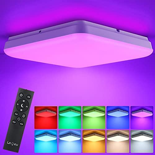 LEOEU RGB Dimmbar LED Deckenleuchte 24W mit Fernbedienung, LED Deckenlampe dimmbar mit 7 Farbwechsel, IP54 Leuchte für Wohnzimmer Schlafzimmer Kinderzimmer Bad