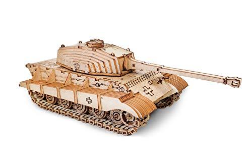 PISDEZ Holzbausatz Modell Tiger 2 - Panzer Tiger II - 3D Puzzle - Modellbausatz für Erwachsene und Jugendliche - Schöne Geschenkidee für Bastler - Über 500 Bauteile