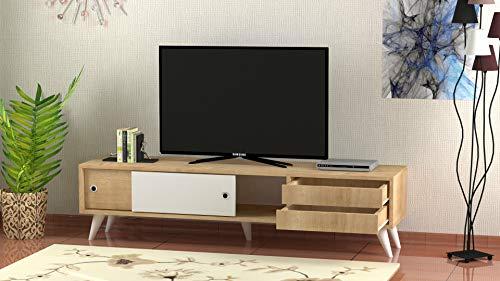 Bonamaison, Unidad De TV Blanco / Marrón, Muebles para Sala De Estar, Dormitorio, Cocina, Oficina - Diseñado Y Fabricado En Turquía