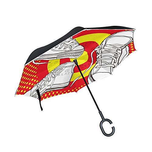 LINDATOP doppellagiger umgekehrter Regenschirm Basketballschuhe winddicht Auto Regen außen C-förmiger Griff