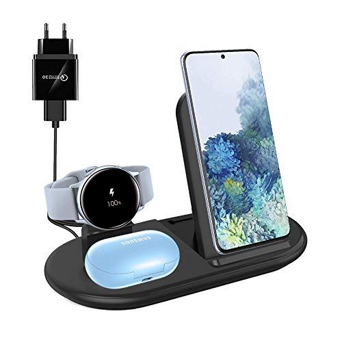 Cargador Inalámbrico 3 en 1, Base de Carga Inalámbrica Compatible con Samsung Galaxy S20 S10 S9, Note 10 8 9, Galaxy Buds Live Buds +, Galaxy Watch/Watch 3 / Active/Active 2 (Black)