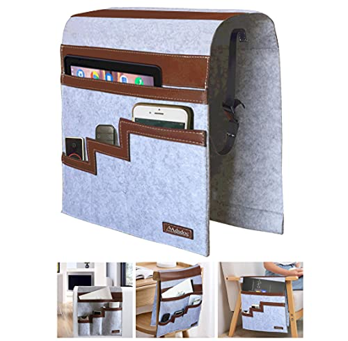 Adsdoc Storage Bag for Sofa,Office Chair,Couch,Loveseat Armrest bag,Armrest Covers with Pockets,Hanging bag for Phones,Papers,Remote Control etc.Made of Felt