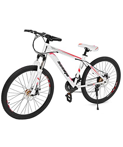C/N 26 Inch Mountain Bikes, 21 Speed Suspension Fork MTB, High-Tensile Carbon Steel Frame Mountain Bicycle with Dual Disc Brake for Men and Women(US Stock) (Orange)