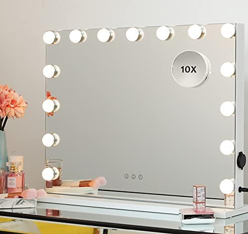 iCREAT Hollywood Spiegel mit Beleuchtung Schminkspiegel 15 Dimmbare LED Glühbirnen 3 Farbtemperatur USB Ladenanschluss wandmontierbar Hollywood-Stil Tischspiegel 58X43cm Weiß