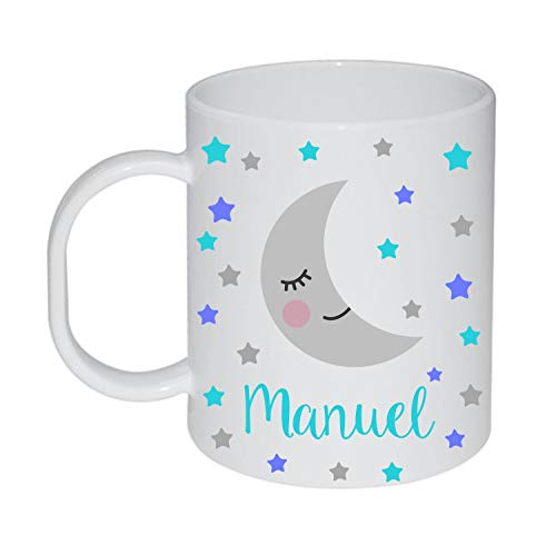 Kembilove - Taza de Desayuno Infantil Personalizada – Tazas Plástico Personalizadas con el Nombre del Niño o Niña Niños – Vuelta al Cole – Taza Plástico Luna y Estrellas Azul