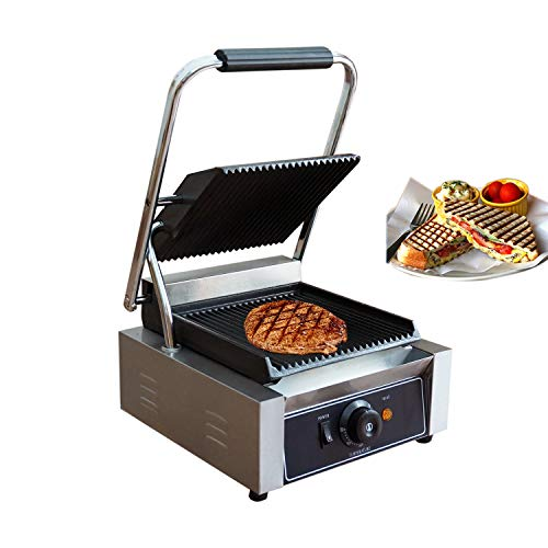 Proshopping 1800W Commercial Electric Sandwich Press Grill, Large Stainless Steel Panini Maker, Non Stick Panini Press Griddle Machine, Grooved Plates, 110V - for Paninis, Hamburgers, Steaks, Bacons