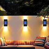 Jooayou Solar Fence Lights, 2 Pack Solar Garden Wall Lights Outdoor, Solar Powered Lights for Fence Waterproof Wall Lamp with Light Sensor
