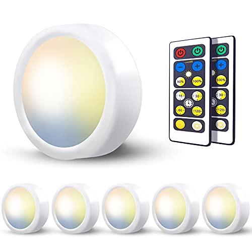 Luces Led Armario a Pilas Inalambrica,Regulable 3 Colores Luz Vitrina LED con Mando a Distancia LED Cocina Bajo Mueble Sin Cable Foco LED Bateria Interior Lámpara Escalera Adhesiva Luz Nocturn