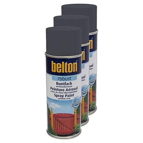 Kwasny 3X Belton Robust Buntlack Lackspray Lack Spray Spraylack Graphitgrau Hochglanz 400 Ml