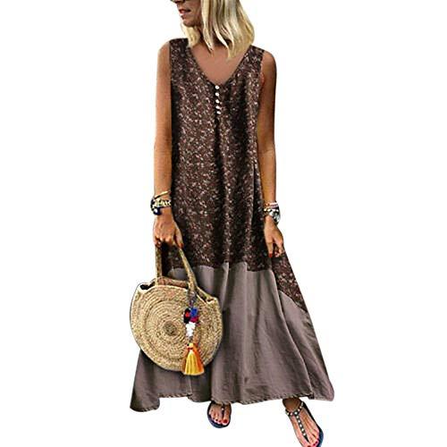 Vertvie dames jurk linnen jurk zomer mouwloos patchwork tuniek boho A-lijn maxi-jurk strand vrije tijd zomerjurk