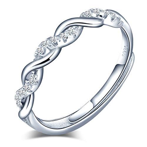 INFINIONLY Anillo abierto para mujer, anillo de plata de ley 925 y símbolo de infinito, incrustaciones de circón, tamaño ajustable, Anillo de compromiso